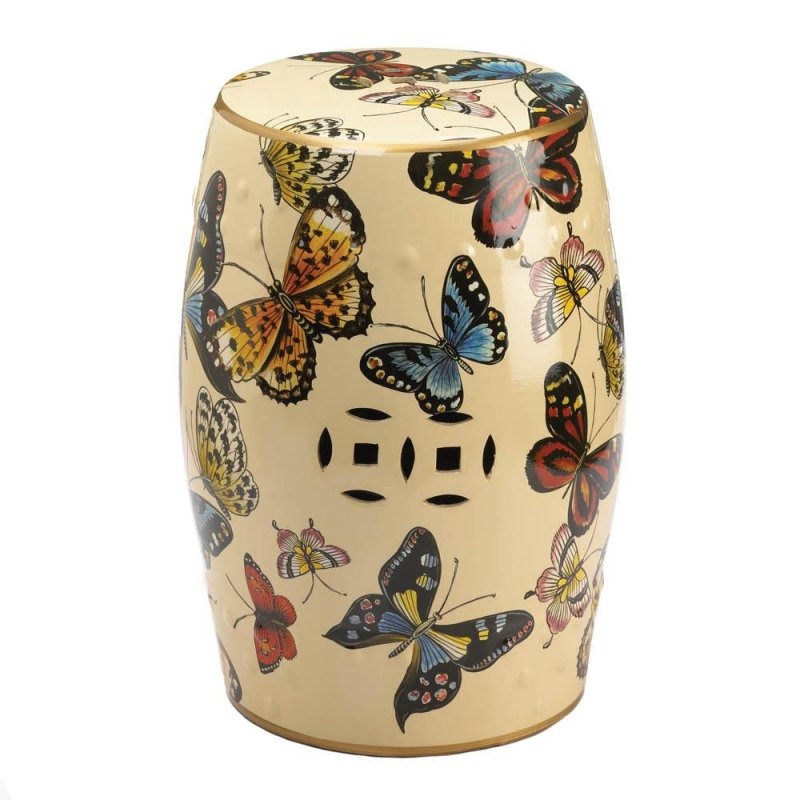 Image 0 of Colorful Butterflies in Flight on Glazed Ceramic Stool, Side Table, Plant Stand