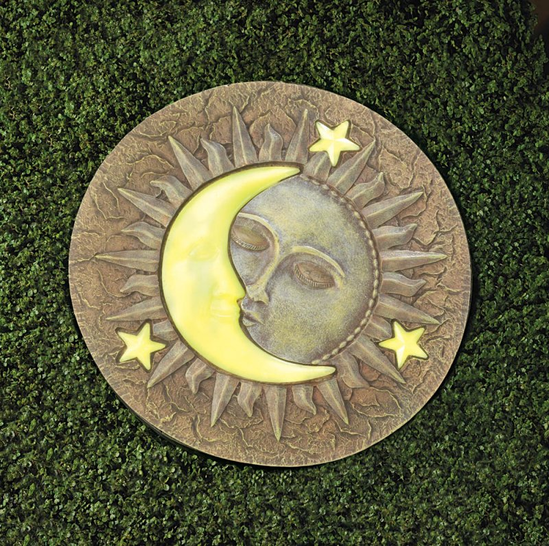 Image 3 of Celestial Stepping Stone w/ Glowing Yellow Moon & Stars Glow at Night