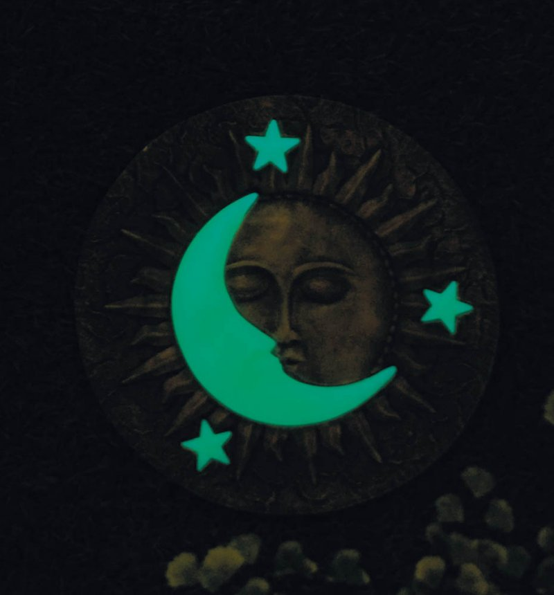 Image 4 of Celestial Stepping Stone w/ Glowing Yellow Moon & Stars Glow at Night