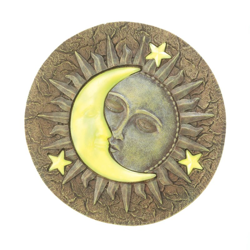 Image 1 of Celestial Stepping Stone w/ Glowing Yellow Moon & Stars Glow at Night