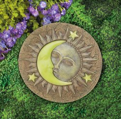 Celestial Stepping Stone w/ Glowing Yellow Moon & Stars Glow at Night
