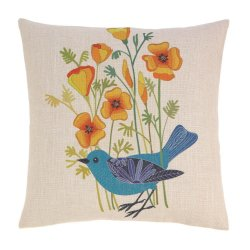Blue Bird Decorative Accent Pillow w/ Golden Poppies 17 x 17 Square