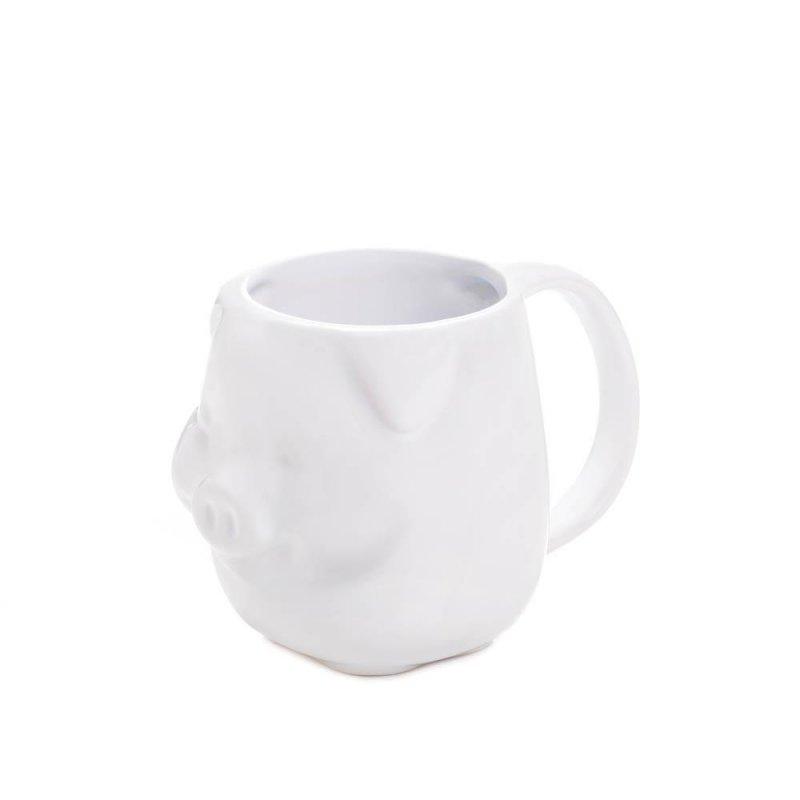 Image 0 of White Dolomite Molded Piglet Face Coffee Mug