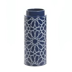 Orion Modern w/ Geometric Constellations Moroccan Pattern Blue & White Vase