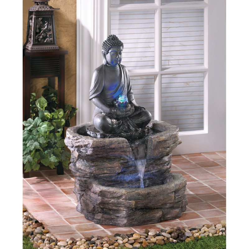 Image 0 of Serenity Zen Sitting Buddha w/ LED Lighting Outdoor Garden Water Fountain