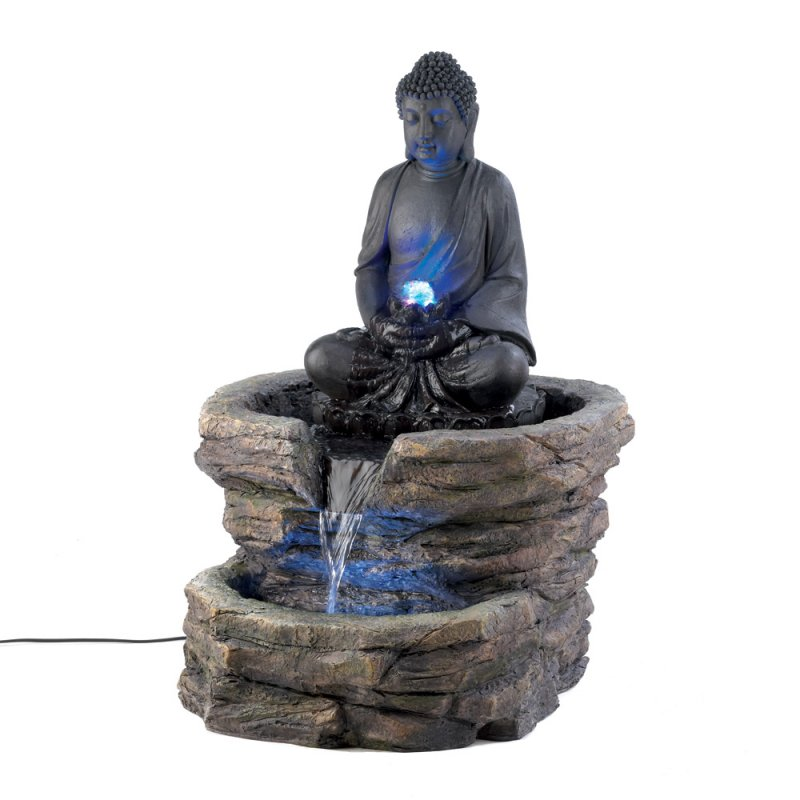Image 1 of Serenity Zen Sitting Buddha w/ LED Lighting Outdoor Garden Water Fountain