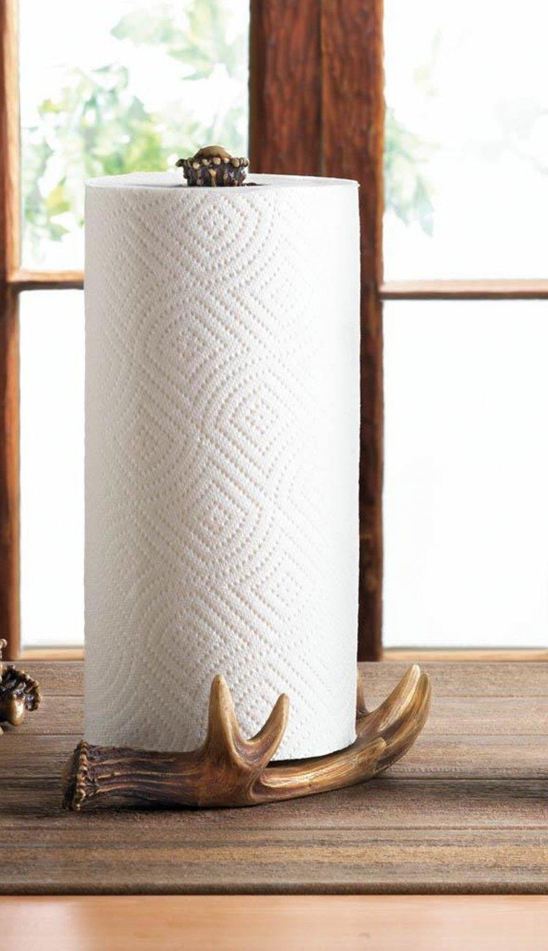 Image 0 of Faux Moose Antler Countertop Paper Towel Holder Western Decor