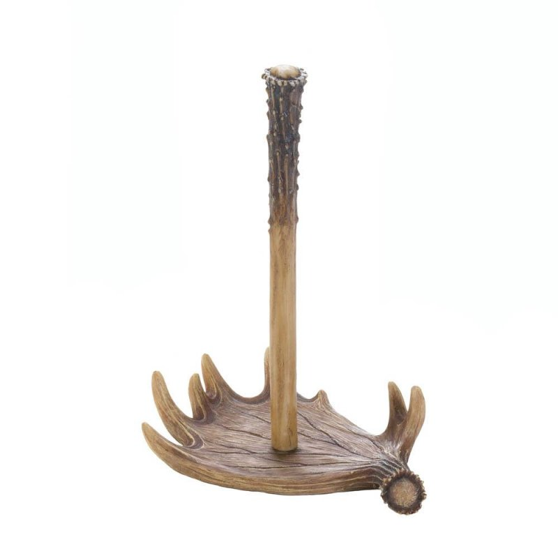 Image 2 of Faux Moose Antler Countertop Paper Towel Holder Western Decor