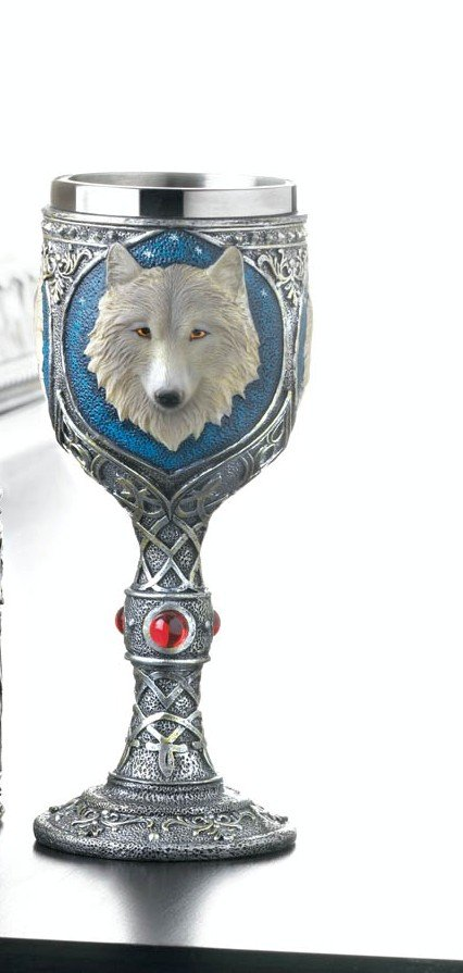 Image 0 of Gothic Celtic Design Stainless Steel Goblet w/ White Timber Wolf Bust