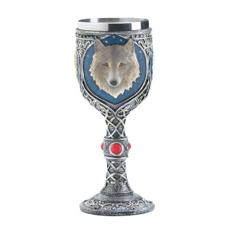 Image 1 of Gothic Celtic Design Stainless Steel Goblet w/ White Timber Wolf Bust
