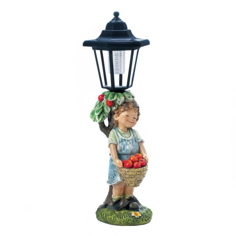 Image 1 of Boy Leaning Against Solar Street Light Holding a Basket of Apples Garden Statue