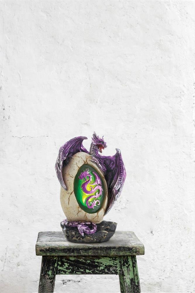 Image 2 of Purple Metallic Dragon w/ Silver Accents Emerges from LED Light up Egg Figurine