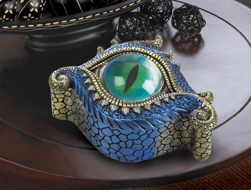 Image 2 of Blue & Gold Dragons Eye Trinket Box Symbol of Protection
