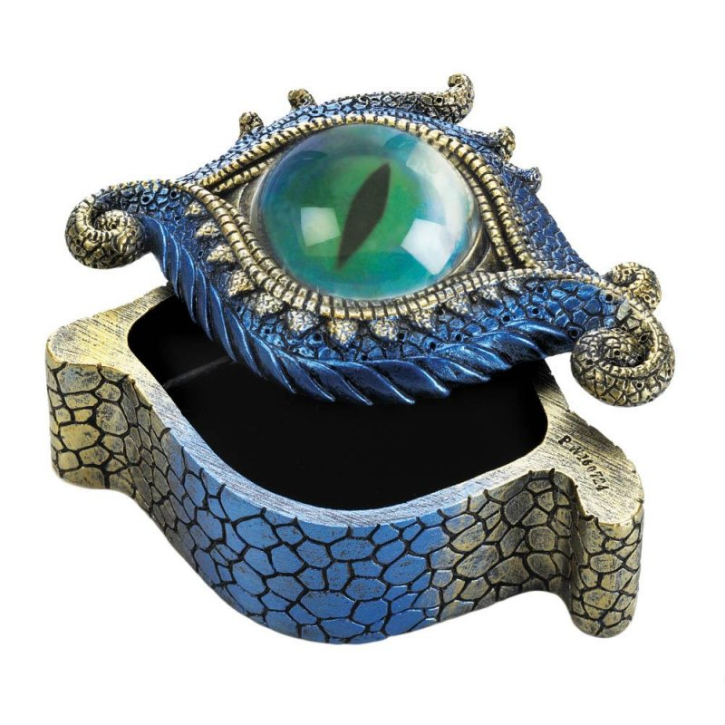 Image 0 of Blue & Gold Dragons Eye Trinket Box Symbol of Protection