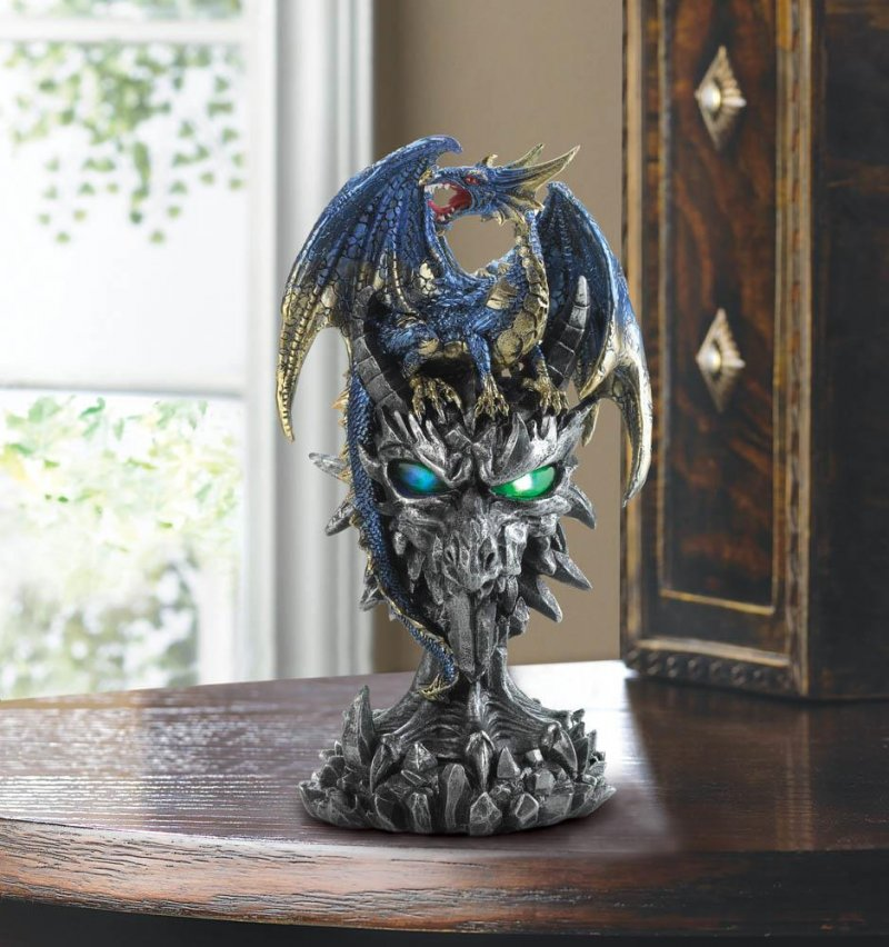 Image 1 of Metallic Blue Dragon Warrior w/ Golden Accents Atop Enemy Eagle w/ LED Lights