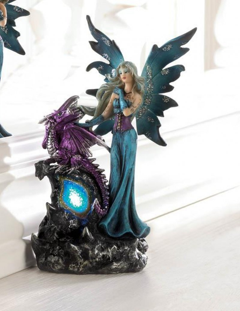 Image 0 of Gothic Fairy Dressed In Turquoise w/ Purple Dragon LED Lighted Gemstone Figurine