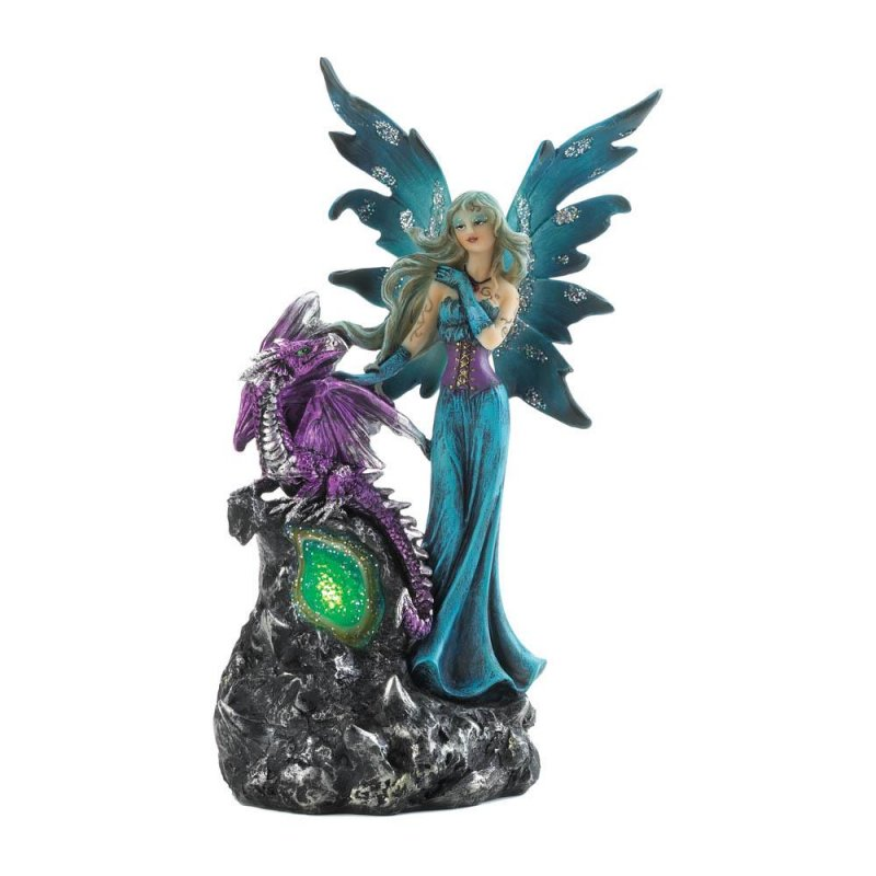 Image 2 of Gothic Fairy Dressed In Turquoise w/ Purple Dragon LED Lighted Gemstone Figurine