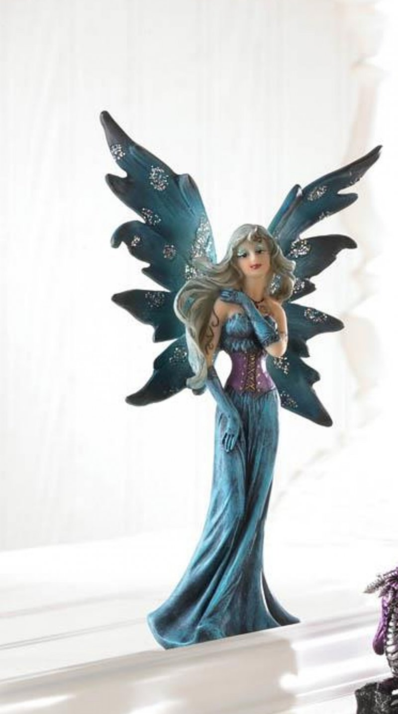 Image 0 of Gothic Fairy Dressed In Turquoise & Purple Gown w/ Shimmery Wings Figurine