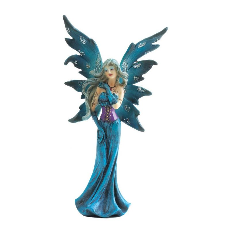 Image 1 of Gothic Fairy Dressed In Turquoise & Purple Gown w/ Shimmery Wings Figurine
