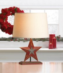 Farmhouse Country Red Star on Wooden Stand Table Lamp with Linen Shade