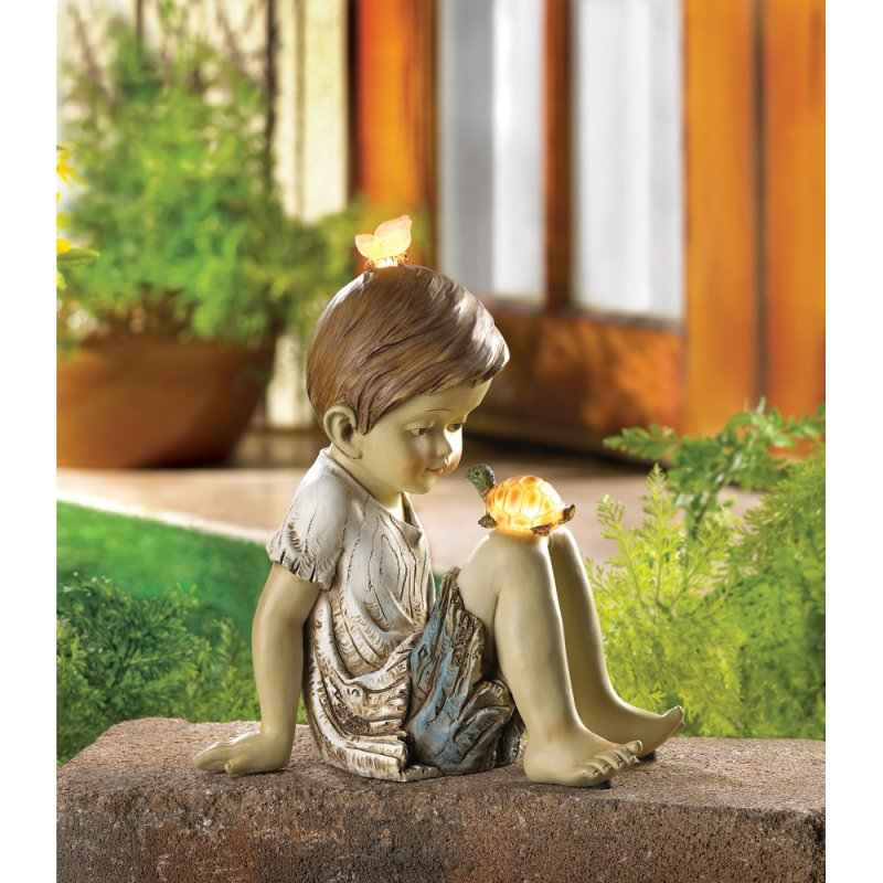 Image 0 of Boy Turtle & Butterfly Solar Garden Figurine Statue Garden Decor