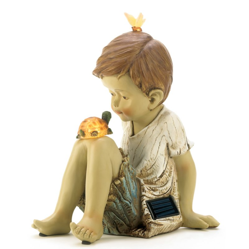 Image 1 of Boy Turtle & Butterfly Solar Garden Figurine Statue Garden Decor