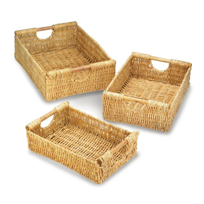 Image 1 of Set of 3 Maize Straw Nesting Storage Baskets with Wooden Dowel Handles