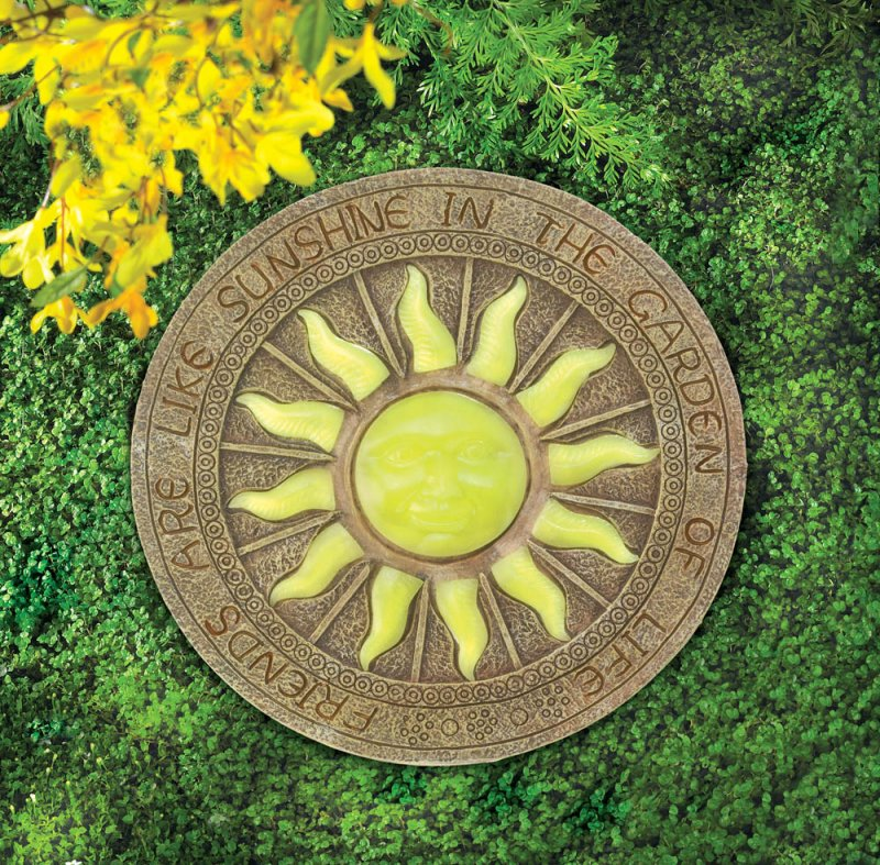 Image 0 of Stepping Stone Yellow Sun Glows at Night w/ Friends are Like Sunshine Garden
