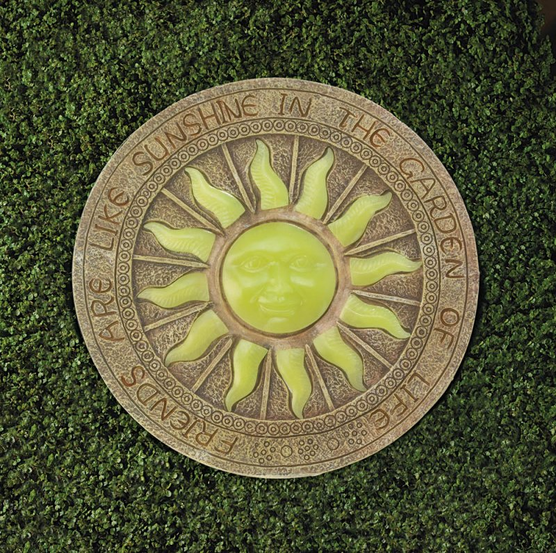 Image 1 of Stepping Stone Yellow Sun Glows at Night w/ Friends are Like Sunshine Garden