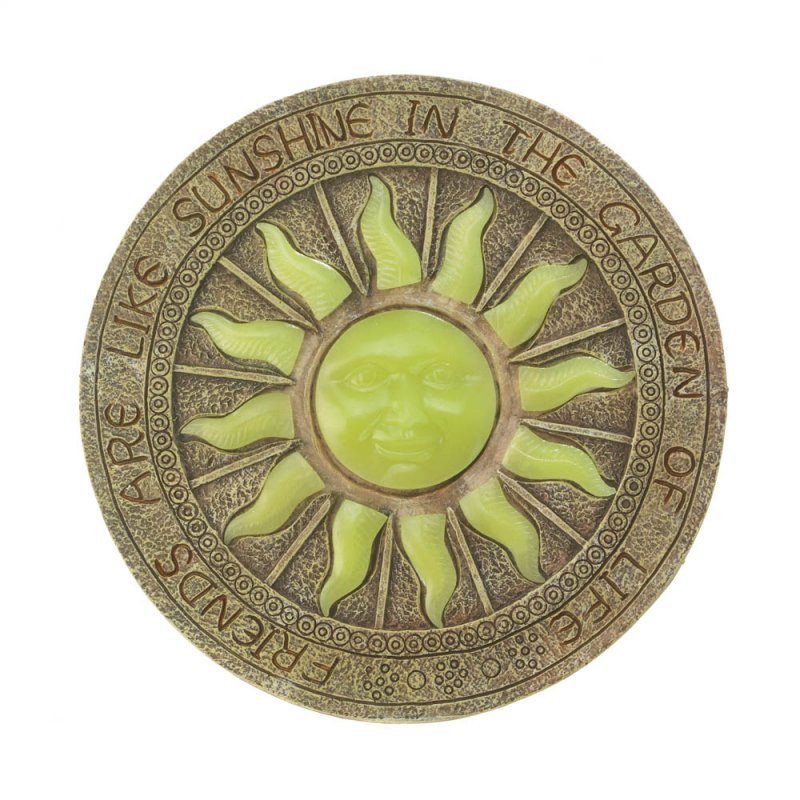 Image 3 of Stepping Stone Yellow Sun Glows at Night w/ Friends are Like Sunshine Garden