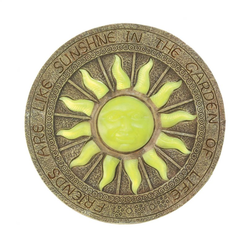 Image 4 of Stepping Stone Yellow Sun Glows at Night w/ Friends are Like Sunshine Garden
