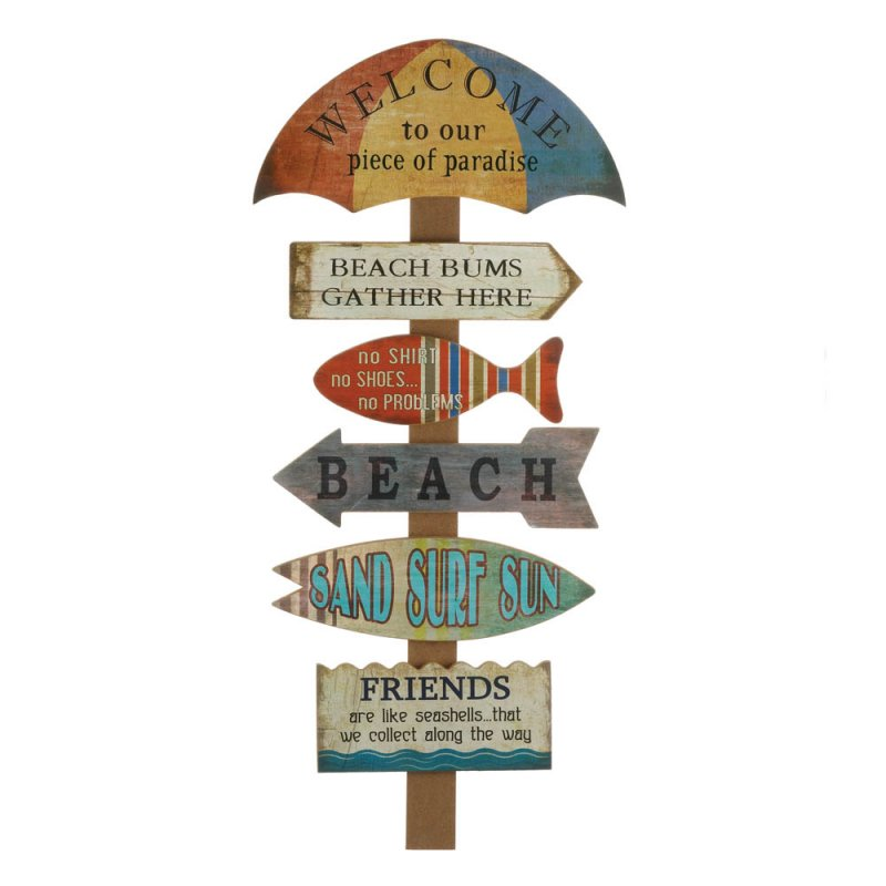 Image 0 of Umbrella Shaped Welcome to the Beach Wall Plaque Sign w/ Laid Back Sayings