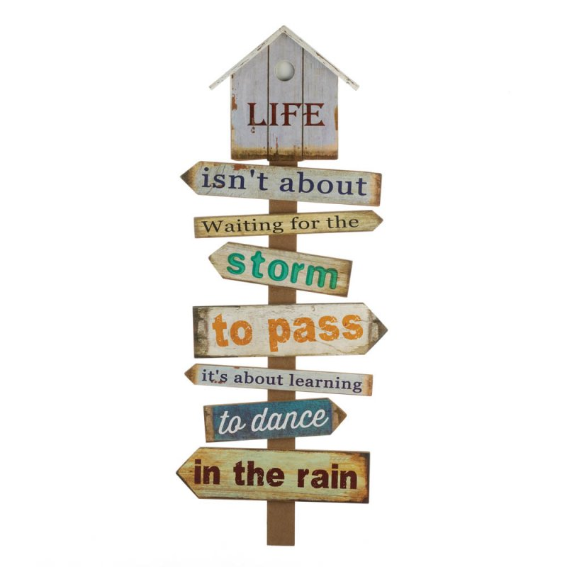 Image 0 of Wooden Directional Wall Plaque Sign w/ Inspirational Quote