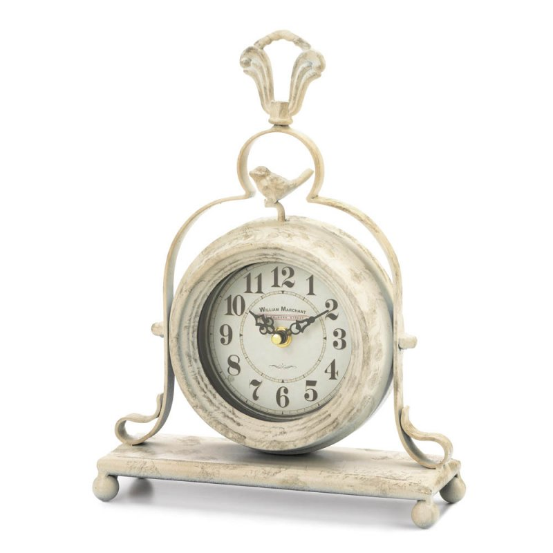 Image 0 of Antique White Finish Mantel Tabletop Clock w/ Bird on Top French Country Decor