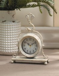 Antique White Finish Mantel Tabletop Clock w/ Bird on Top French Country Decor