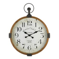 Industrial Style Round Wood Frame Wall Clock w/ Distressed White Clock Face