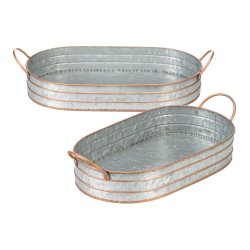 Set of 2 Farmhouse Galvanized Metal Oblong Serving Trays w/ Tall Edges