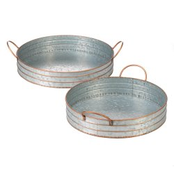 Set of 2 Farmhouse Galvanized Metal Round Serving Trays w/ Tall Edges