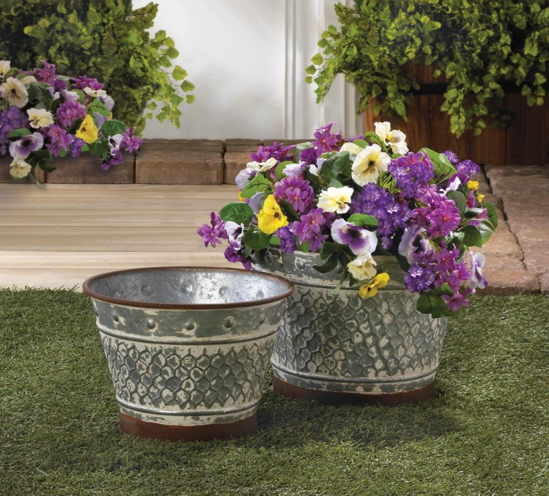 Image 0 of Set of 2 Rustic Country Chic Galvanized Metal Planters w/ Painted Brown Trim