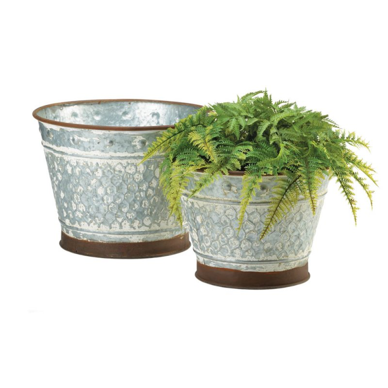 Image 2 of Set of 2 Rustic Country Chic Galvanized Metal Planters w/ Painted Brown Trim