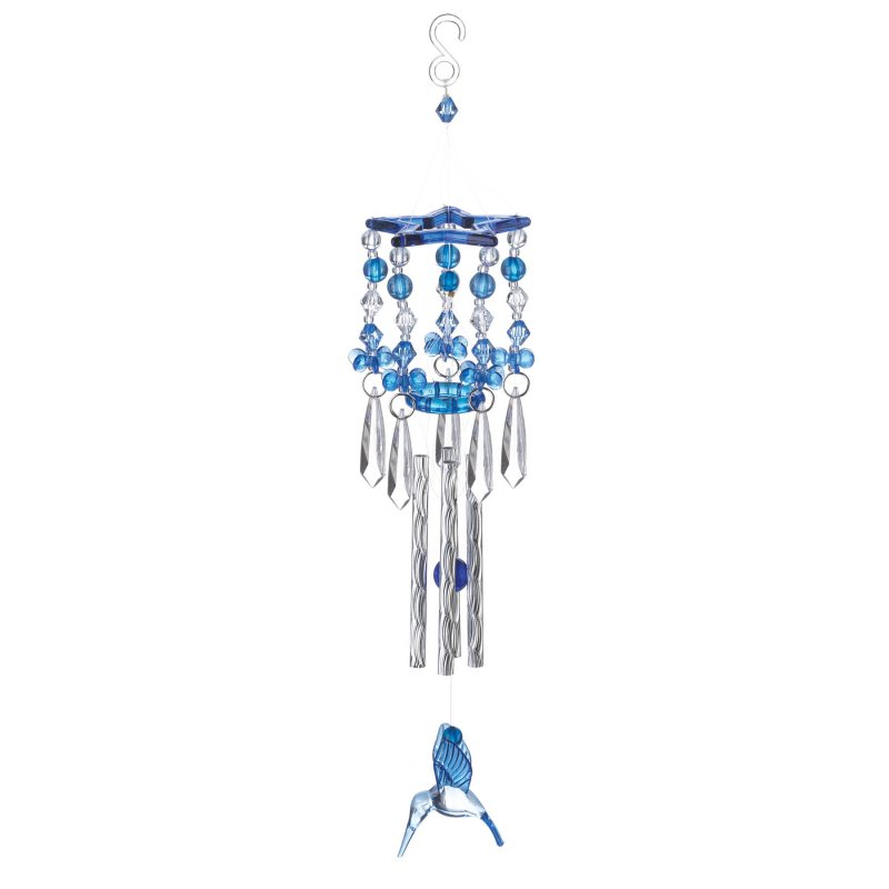 Image 0 of Blue Hummingbird Beaded Acrylic Wind Chime w/ Silver Metal Pipes