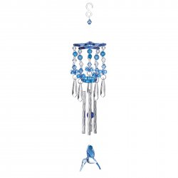 Blue Hummingbird Beaded Acrylic Wind Chime w/ Silver Metal Pipes