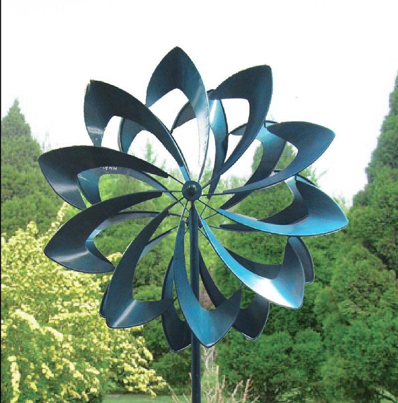 Image 0 of Vibrant Blue Petals Kinetic Windmill Garden Stake w/  2 Sets of Blades 84