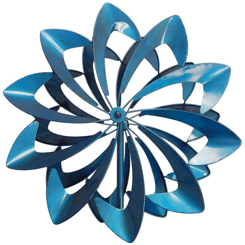Image 1 of Vibrant Blue Petals Kinetic Windmill Garden Stake w/  2 Sets of Blades 84