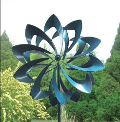Vibrant Blue Petals Kinetic Windmill Garden Stake w/  2 Sets of Blades 84 High