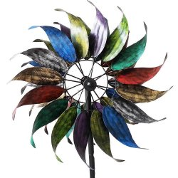 Rainbow of Color Kinetic Windmill Garden Stake w/ 2 Sets of Blades 84 High