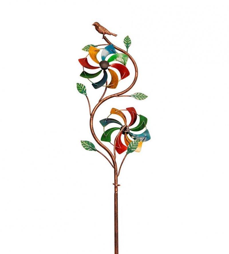 Image 0 of Rainbow Duo Kinetic Windmill  Ivy Vine w/ Bird on Top Garden Stake 48