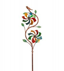 Rainbow Duo Kinetic Windmill  Ivy Vine w/ Bird on Top Garden Stake 48 High