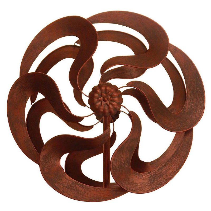 Image 0 of Bronze Color Flower Kinetic Windmill Garden Stake w/ 2 Sets of Blades 75