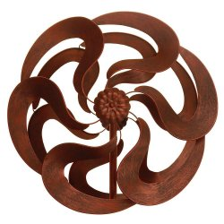 Bronze Color Flower Kinetic Windmill Garden Stake w/ 2 Sets of Blades 75 High